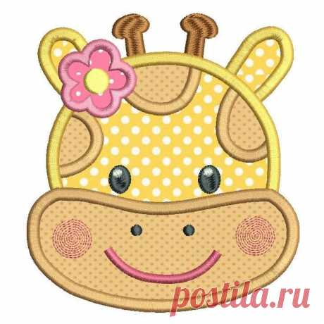 Girl Giraffe Face Applique (SA542-4) This is a cute little girl giraffe face applique machine embroidery design. So sweet. 3 sizes are supplied with your purchase for 4x4, 5x7, 6x10 inch hoops.