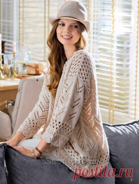 Бежевый пуловер оверсайз ажурыми узорами — Shpulya.com - схемы с описанием для вязания спицами и крючком