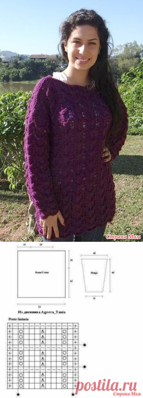 Warm tunic spokes. Simple pattern and pattern. - KNITTED FASHION + FOR NOT MODEL LADIES - the Country of Mothers