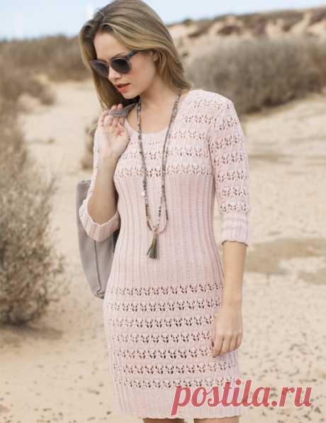 Нежное романтичное платье с ажурной резинкой спицами!