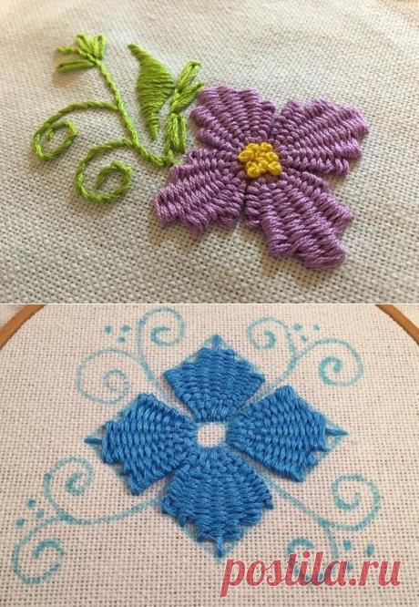 Учимся вышивать объёмные цветы — Сделай сам, идеи для творчества - DIY Ideas