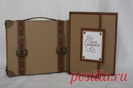 Мастер-класс по коробочке-чемоданчику для мужской открытки