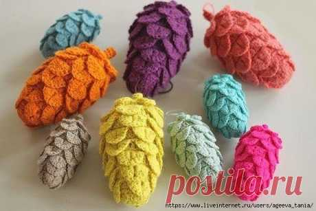 Разноцветные шишки крючком.