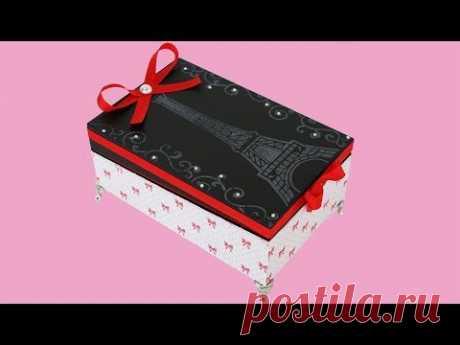 Caixa de Papelão com Scrapdecor e Stêncil - Reciclagem