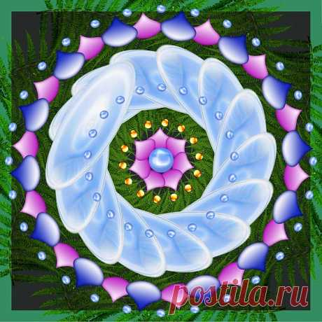 Blue Digital Mandala  Free Stock Photo HD - Public Domain Pictures