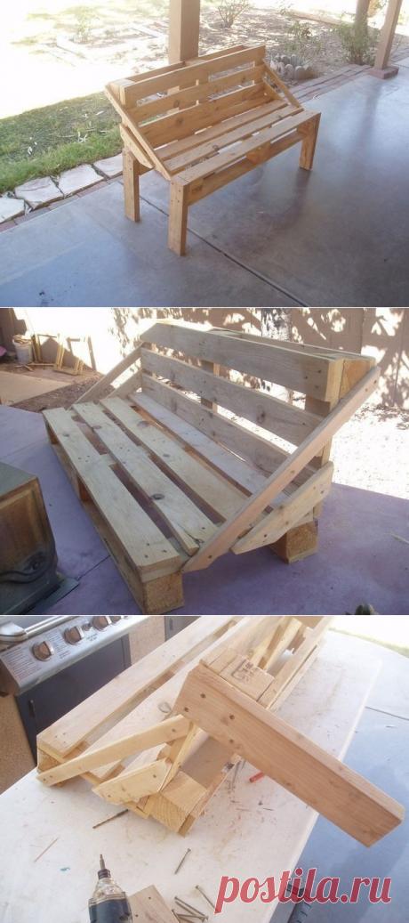 Идея для дачи или дома: скамейка из палетт