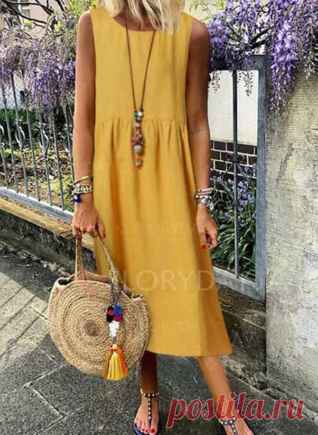 Casual Solid Tunic Round Neckline Shift Dress - Floryday
