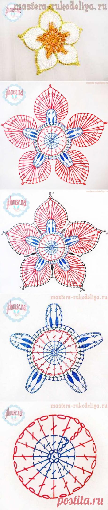 Фото и видео мастер-класс по вязанию крючком авторского мотива Цветок - талисман