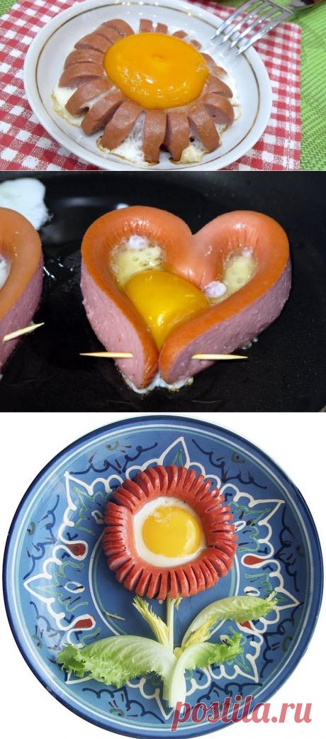 Оригинальная яичница для сытного завтрака. Есть маленький секрет изумительного вкуса.