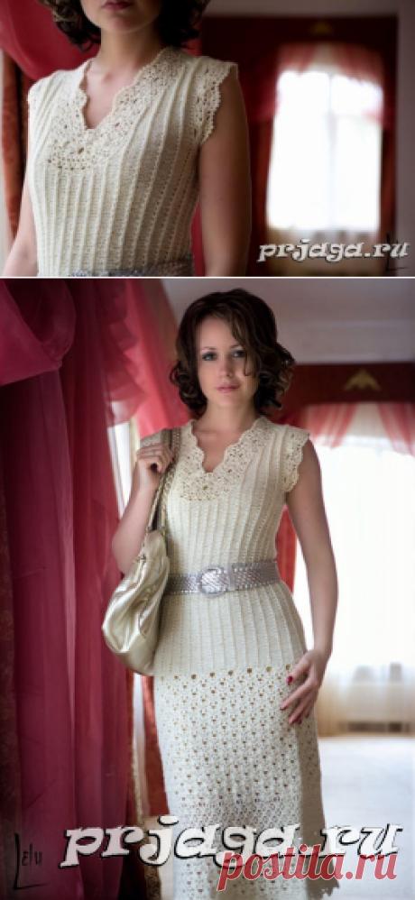 Платье крючком и спицами