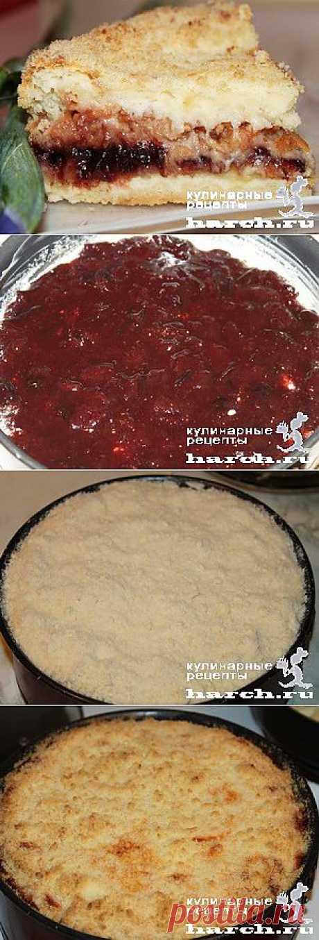 Насыпной яблочный пирог с творогом и вареньем   Харч.ру - рецепты для любителей вкусно поесть