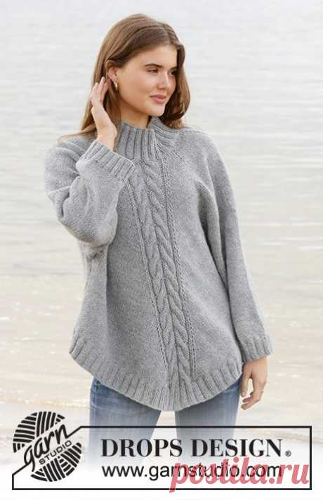 Knitted poncho-sweater with raglan in DROPS Nepal. The piece is worked top down with cables and high neck. Sizes S - XXXL.