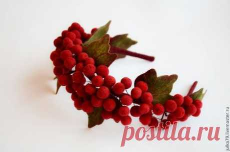Купить Ободок Калина - ярко-красный, ободок для волос, калина, ободок калина, обруч с ягодами