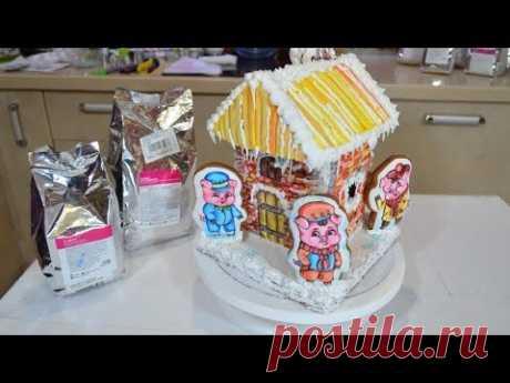 Роспись новогоднего пряничного домика №1: айсинг, его консистенция, глазурь для декора, рецепт теста