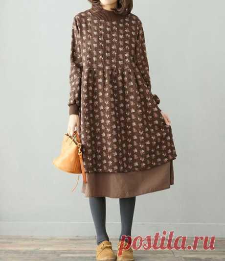 Winter loose dress high collar Floral dress plus velvet Long | Etsy