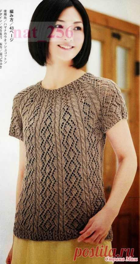 Пуловер с круглой кокеткой связанный от горловины. Спицы. Lady Boutique Series №3357 2012