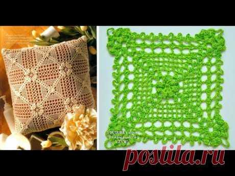 Квадратный мотив.Большой ажурный мотив крючком +схема Урок 237 Openwork crochet motif. Square motif