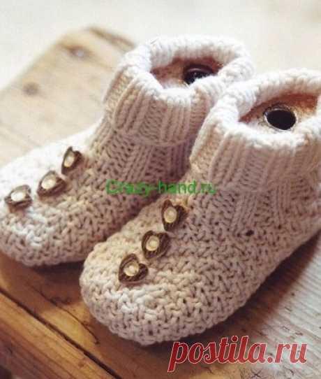 Пинетки ботиночки спицами | Crazy-hand.ru