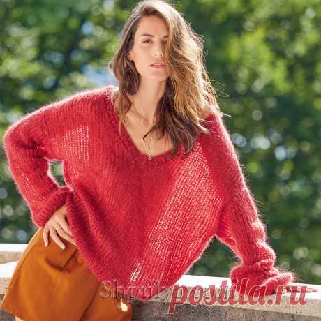 Свободный пуловер их мохера красного цвета — Shpulya.com - схемы с описанием для вязания спицами и крючком