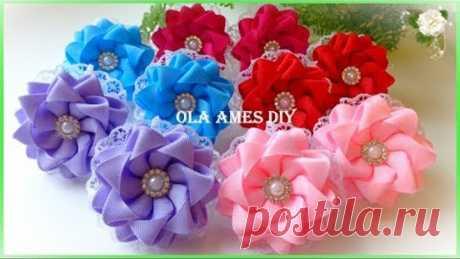 Канзаши/Цветы из репсовых лент/Kanzashi Flower/DIY Grosgrain Ribbon Flower/Flor de Fita/Ola ameS DIY