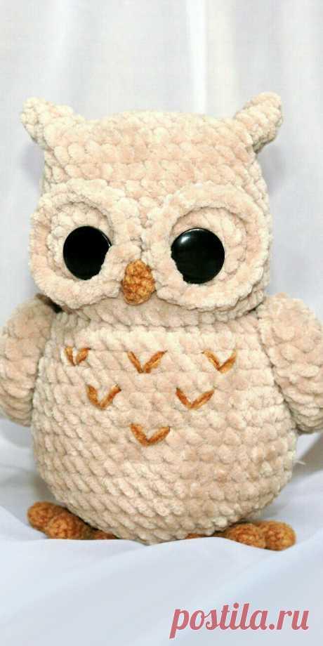 PDF Совёнок из плюша крючком. FREE crochet pattern; Аmigurumi doll patterns. Амигуруми схемы и описания на русском. Вязаные игрушки и поделки своими руками #amimore - Сова, птица, птичка.