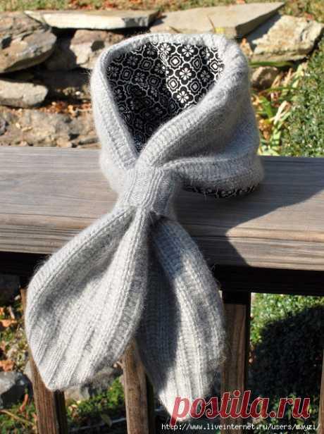 Переделка старого свитера в оригинальный дизайнерский шарф . Милая Я