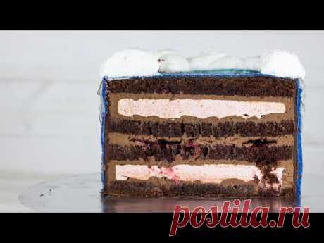 """Рецепт торта """"Нежный шоколад"""". #Торт с зефиром внутри. Шоколадный бисквит и крем на основе ганаша"""