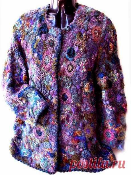 Prudence Mapstone 'Purple Blue Cardigan' 2012   Crochet - free form