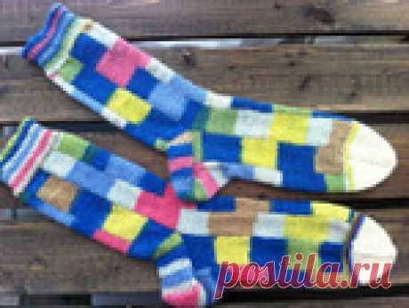 Носочки полосками, частичное вязание