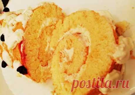 (9) Рулет бисквитный☕ с творожно - сливочным кремом 🍵 - пошаговый рецепт с фото. Автор рецепта Oксана Баранова 🏃🏻♀️ 🏃♂️ . - Cookpad
