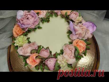 Гортензия, пионы. Оформление торта для девушки. Крем белково-масляный.Cream flowers.Peonies