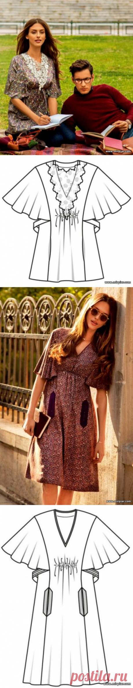 """""""MirPiar.com"""" - Справочно-информационный портал. Донецк - Каталог файлов.Туника и платье в стиле ампир с рукавами-крылышками макси. Готовые выкройки бесплатно в натуральную величину в шести размерах"""