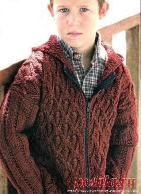 Вязаный пуловер на мальчика 5, 6 лет спицами