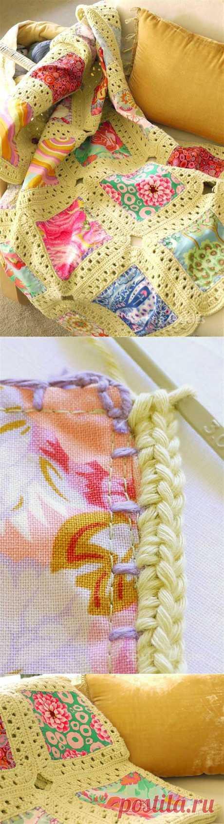 Идея: одеяло из квадратов ткани + крючок.