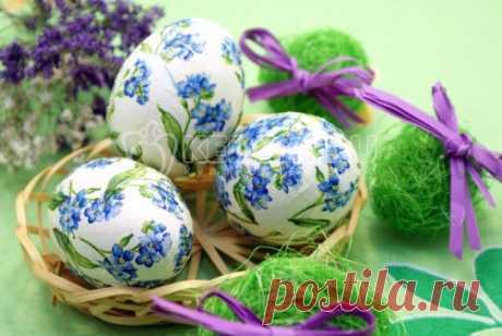 Пасхальные яйца «Цветочный декупаж» Оригинальный и простой способ украсить пасхальные яйца, это приготовить из в технике «Цветочный декупаж».