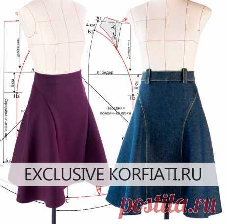 Моделирование выкройки расклешенной юбки от Анастасии Корфиати Моделирование выкройки расклешенной юбки длиной миди с боковыми подрезами. Очень женственная модель юбки для любой фигуры. Шьем сами!
