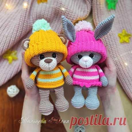PDF Мишка и Зайка крючком. FREE crochet pattern; Аmigurumi animal patterns. Амигуруми схемы и описания на русском. Вязаные игрушки и поделки своими руками #amimore - медведь, медвежонок, мишка, заяц, зайка, зайчик, зайчонок.