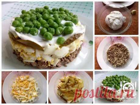 Салат с горошком - украсит любой праздничный стол! на 100грамм - 109.23 ккалБ/Ж/У - 10.97/5.66/3.46   Ингредиенты:  Печень куриная — 200 гр (отварная) Горошек зеленый — 1/2 стакана (свежезамороженный) Сметана — 3-4 ст.л Чеснок — 1/2 зубчика (по вкусу) Яйцо — 2 шт (вареные) Огурец маринованный — 1 шт (небольшой) За рецепт спасибо группе Диетические рецепты   Приготовление:  Приготовьте соус: измельчите чеснок и добавьте его в сметану. Свежезамороженный зеленый горошек отвар...