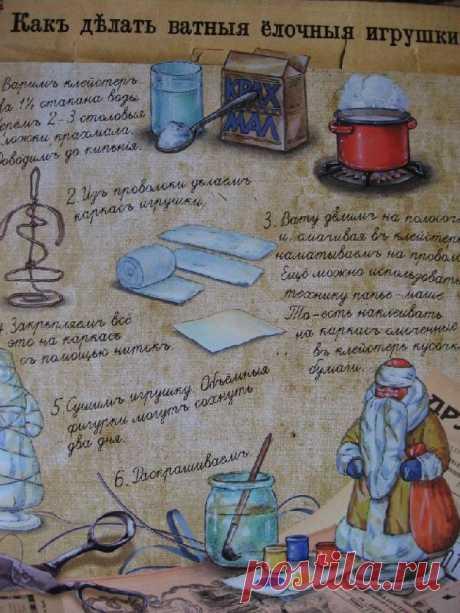 Ватный Дед Мороз и другие ватные елочные игрушки• МАМИН ГРАД- образовательный портал