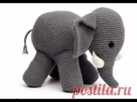Knitted toys hook. Elephant of an amiguruma. Elephant hook