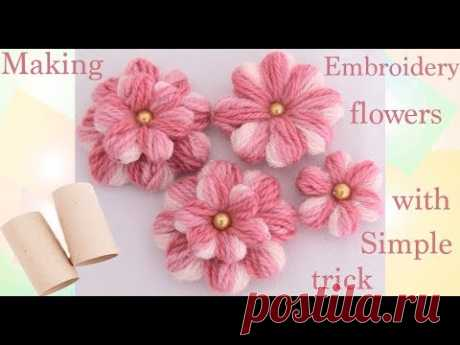 Como hacer flores con un pequeño truco Embroidery Making flowers with simple trick
