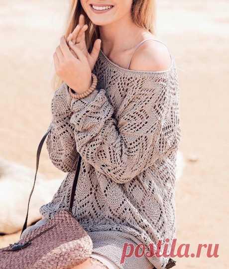 Ажурный пуловер спицами — схема вязания