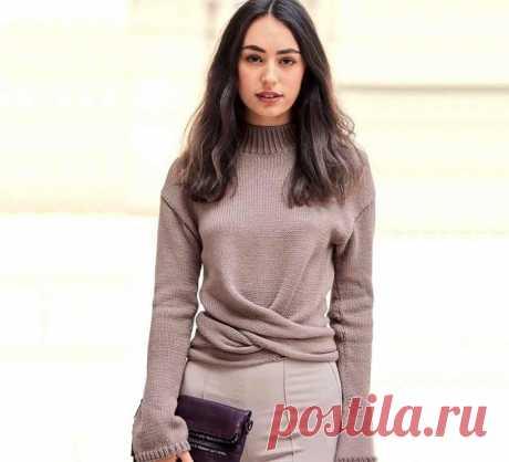 Стильный, элегантный кашемировый пуловер можно трансформировать (Вязание спицами) – Журнал Вдохновение Рукодельницы