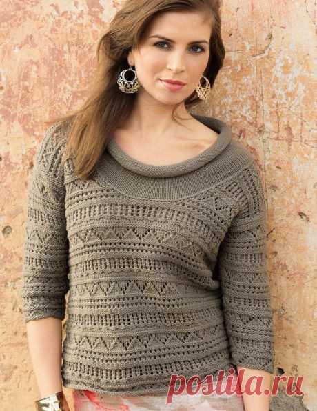 Ажурный пуловер с широким воротником (Вязание спицами) – Журнал Вдохновение Рукодельницы