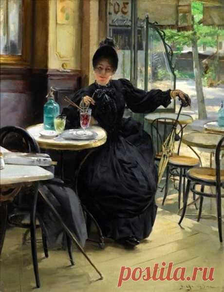 Paul-Francois Quinsak (French,1858-1932) Au cafe