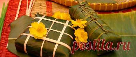 Вегетарианский рисовый пирог бань-чынг