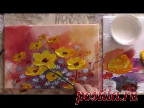 Рисуем акрилом цветы.  Спонтанный букет. Draw acrylic flowers.