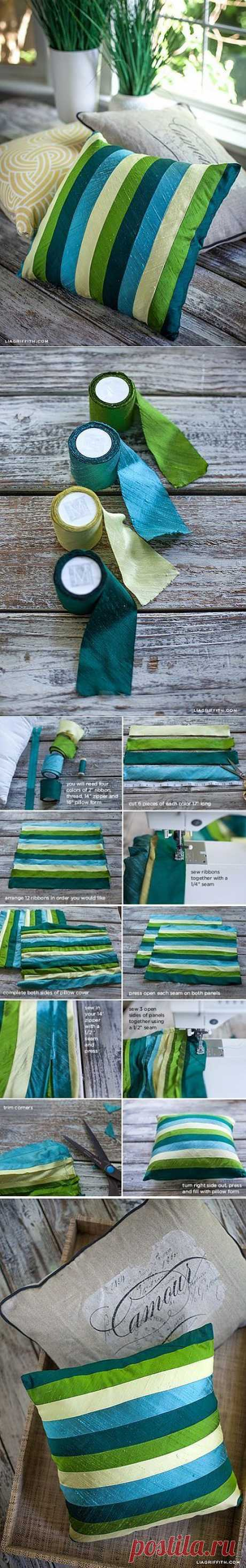 Красивый чехол на подушку из атласных лент   My Milady