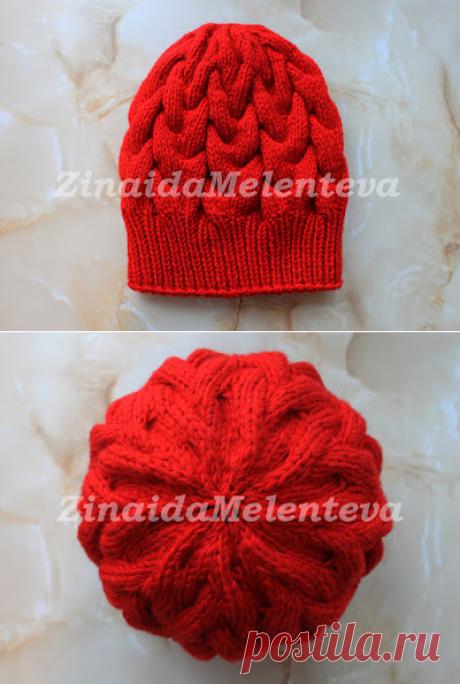 Вяжем вместе: Красная шапка с объёмными косами