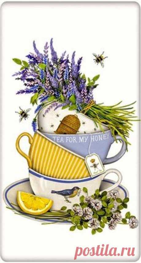 Lavender Tea Cup 100% Cotton Flour Sack Dish Towel Tea Towel